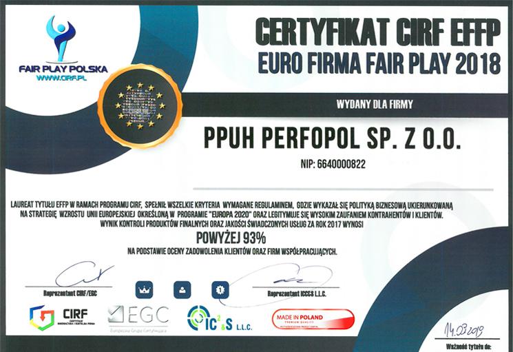 Certyfikat CIRF EFFP