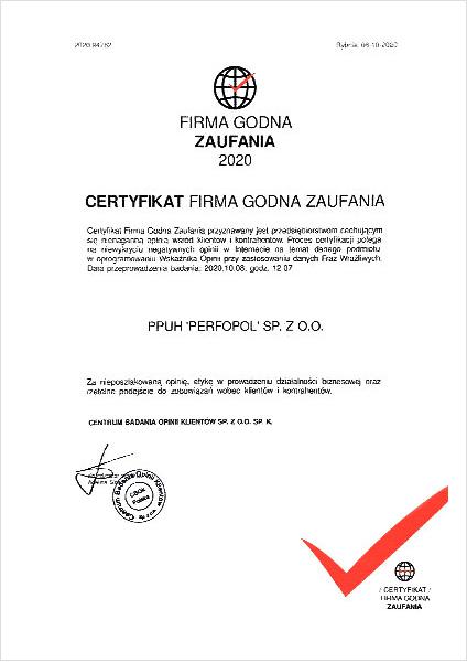Zertifikat Firma Godna Zaufania