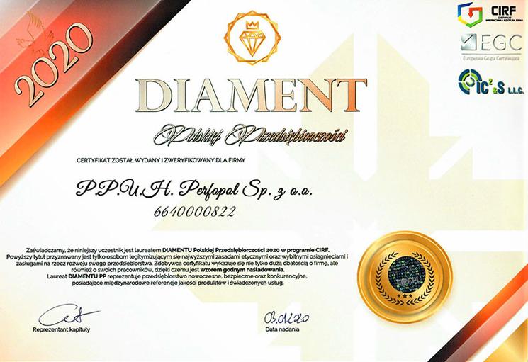 Certificate Diament Polskiej Przedsiębiorczości 2020 w programie CIRF