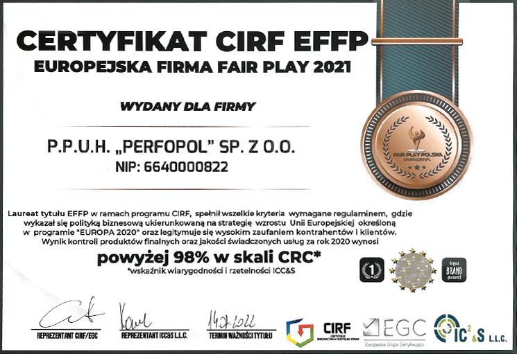 Certificate CIRF EFFP - FAIR PLAY 2021